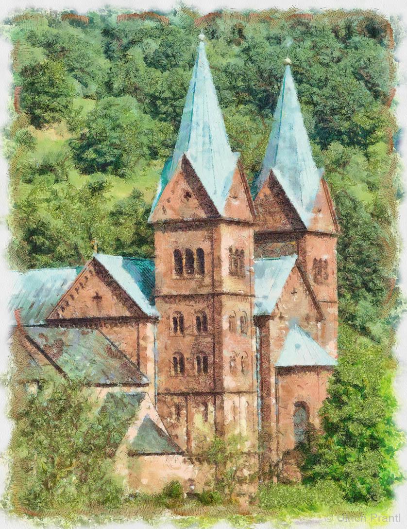 Aquarell Klosterkirche Neustadt am Main