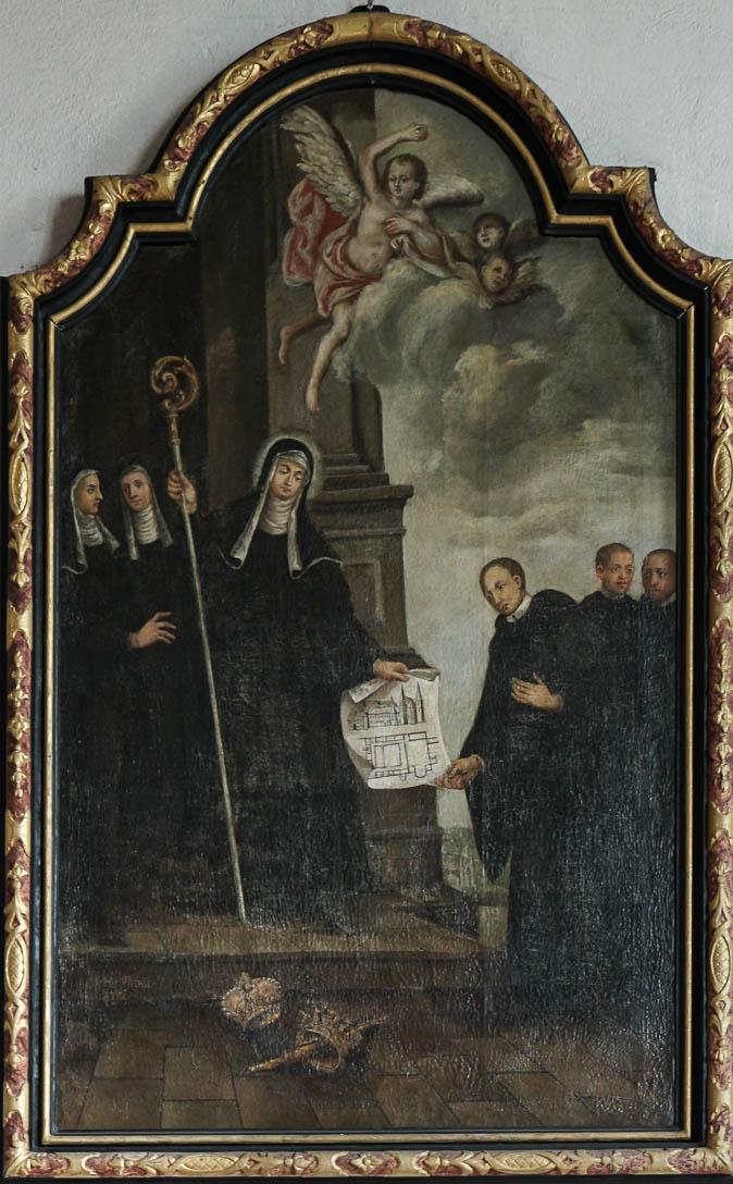St. Gertraud überreicht dem Abt den Klosterplan